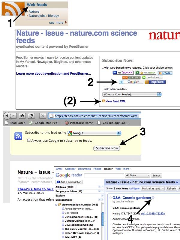 Når du har oprettet en konto på Google Reader, er det let at tilføje tidsskrifter. Find tidsskriftets hjemmeside og deres RSS feed, klik på Subscribe now, og så er du klar.