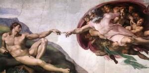 Skabelsen af Adam, fresco fra det Sixtinske Kapel af Michelangelo
