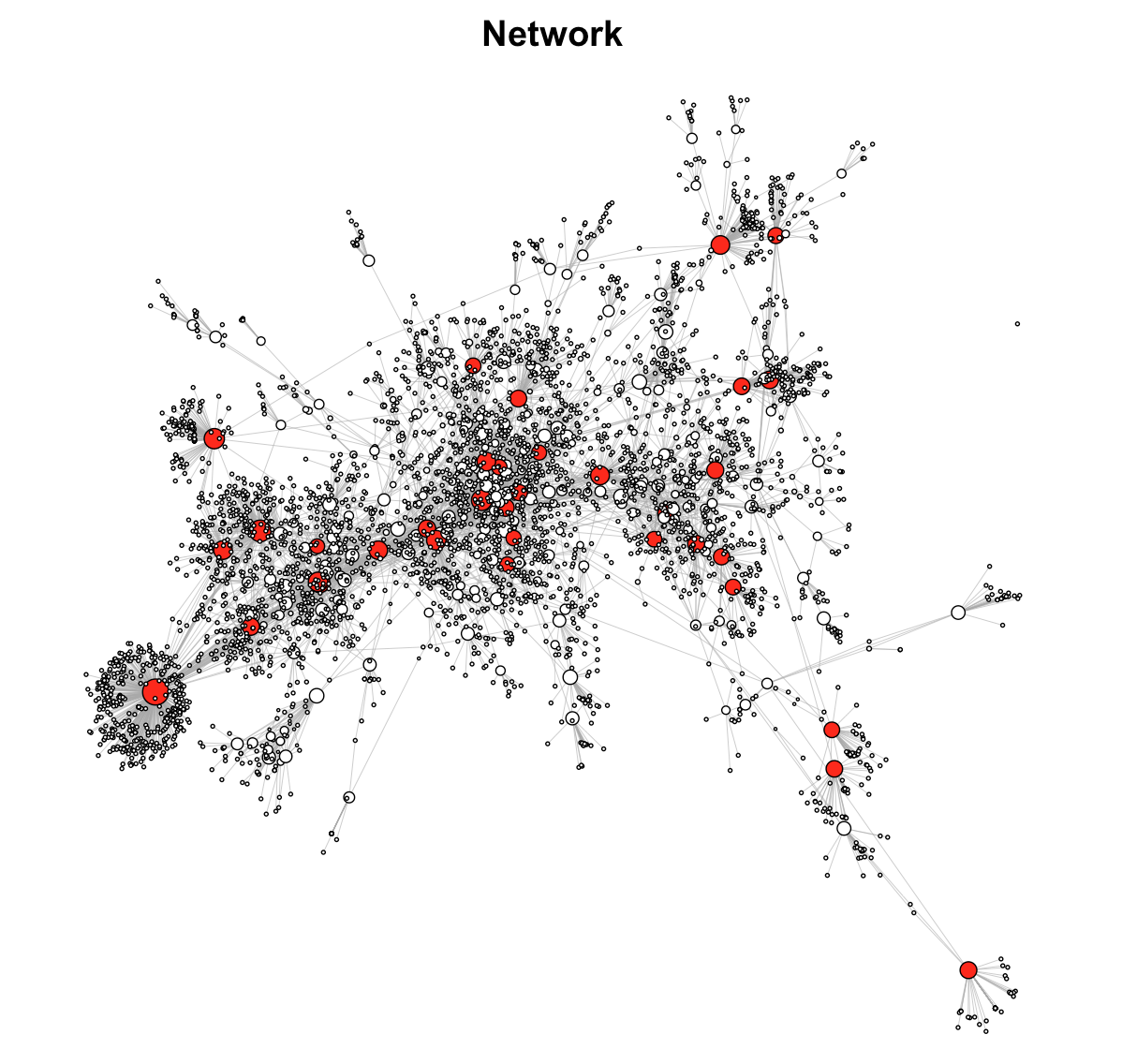 "Sample network based on 4 iterations from ""seed"" article. All articles with over 30 citations are marked in red."