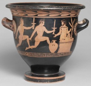 Torch Race with Prize Hydria; Three Youths, c. 430 BC-420 BC